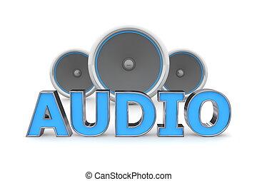 синий, динамики, аудио, -