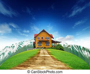 синий, дом, небо, поле, зеленый, пейзаж