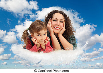синий, дочь, коллаж, пушистый, белый, небо, мама, clouds, перо