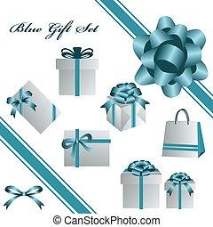 синий, задавать, подарок