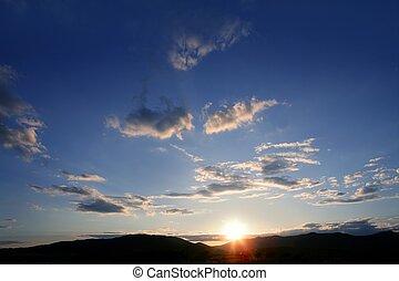 синий, закат солнца, небо, красный, задний план