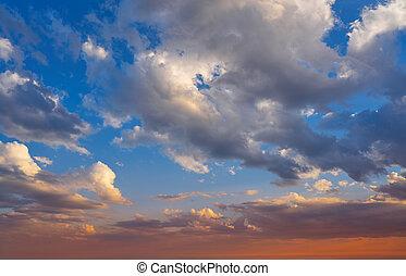 синий, закат солнца, небо, красный, оранжевый