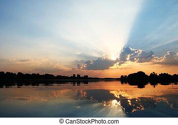 синий, закат солнца, небо, отражение, задний план