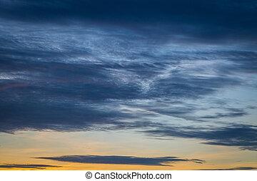 синий, закат солнца, небо