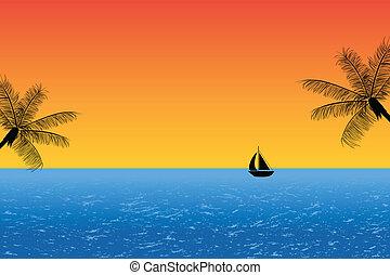 синий, закат солнца, океан