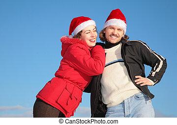 синий, зима, задний план, пара, клаус, небо, против, санта, hats