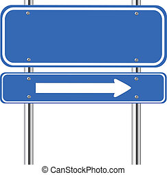 синий, знак, трафик, стрела, пустой, белый