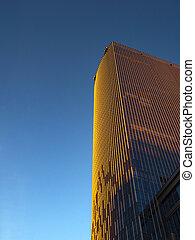 синий, золотой, sky., дно, против, небоскреб, посмотреть