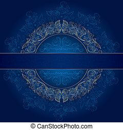 синий, золото, марочный, рамка, patterns, задний план, цветочный