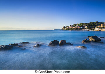 синий, италия, castiglioncello, rocks, тоскана, океан, sunset.