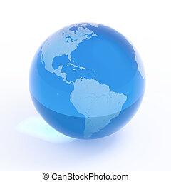 синий, канада, usa, земной шар, -, планета, земля