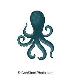 синий, квартира, creature., осьминог, блестящий, tentacle., длинный, вектор, дизайн, животное, большой, eyes., морской, море