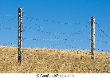 синий, колючая проволока, барьер, небо, против