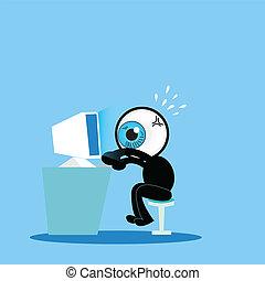 синий, комп, жесткий, глаз, за работой