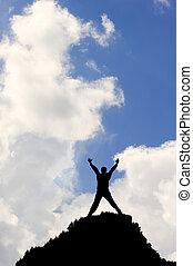 синий, концепция, силуэт, яркий, небо, против, победа, clouds, белый, или, достижение, человек