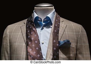 синий, коричневый, крупный план, checkered, носовой платок, background., рубашка, вырезка, галстук, куртка, несвязанный, черный, чирок, included., дорожка, загар