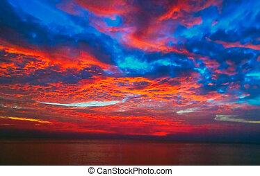 синий, красивая, солнце, небо, море, восход