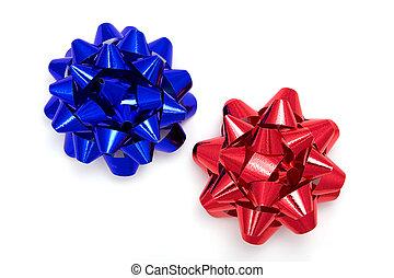 синий, красный, лента