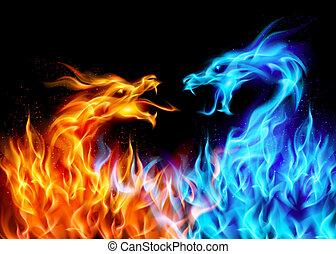 синий, красный, огонь, dragons