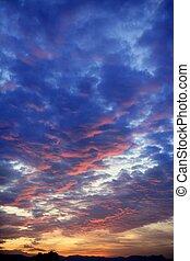 синий, красочный, небо, облачный, закат солнца, красный