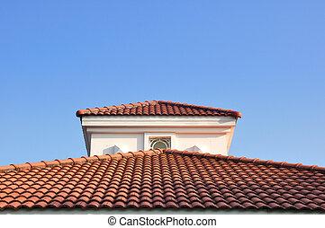 синий, крыша, небо, красный, против
