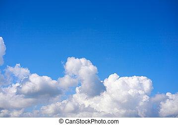синий, кучевые облака, белый, небо, clouds