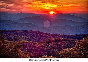 синий, лето, хребет, mountains, аппалачи, закат солнца, автострада