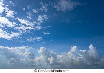 синий, лето, clouds, небо, кучевые облака, белый