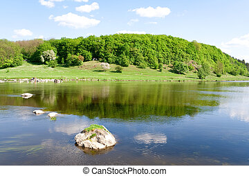 синий, лето, nature., река