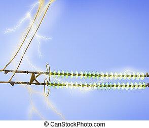 синий, линия, небо, электрический, против