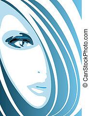 синий, лицо