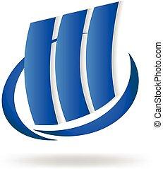 синий, логотип, buildings, современное