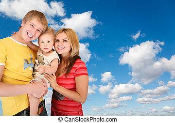 синий, мальчик, clouds, семья, коллаж, пушистый, небо, белый