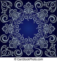 синий, мандала, задний план