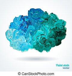 синий, масло, краски, isolated, зеленый, white., облако