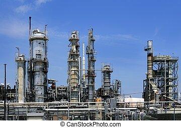 синий, масло, небо, промышленность, металл, линия горизонта, монтаж