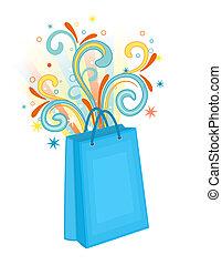 синий, мешок, поход по магазинам