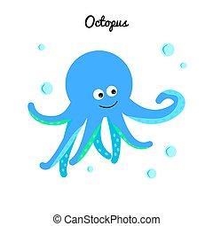 синий, милый, осьминог, character., иллюстрация, океан, water., bubbles, морской, мультфильм