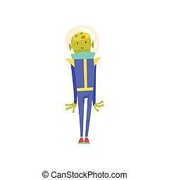 синий, милый, шлем, пространство, персонаж, гуманоид, иллюстрация, дружелюбный, веселая, вектор, зеленый, инопланетянин, костюм, мультфильм