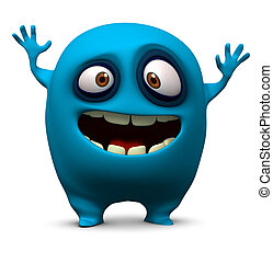 синий, монстр, счастливый