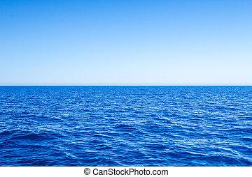 синий, море, sky., морской пейзаж, чисто, средиземное море, горизонт, линия