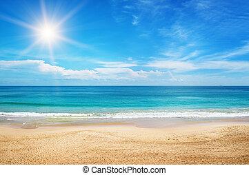 синий, морской пейзаж, небо, задний план, солнце