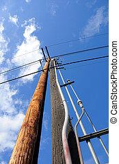 синий, мощность, небо, против, столб, электрический