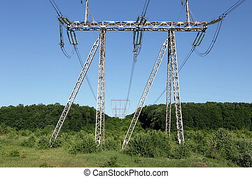 синий, мощность, электричество, небо, против, высокая, столб, пилон, напряжение