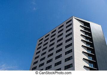 синий, небоскреб, современное, sky., архитектура, против