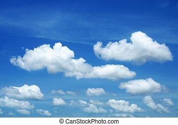синий, небо, белый, clouds, задний план