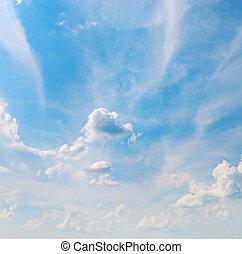 синий, небо, белый, clouds, кучевые облака
