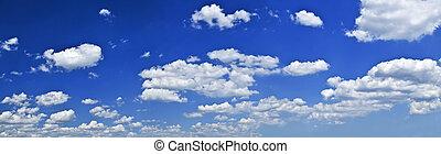 синий, небо, белый, clouds, панорамный