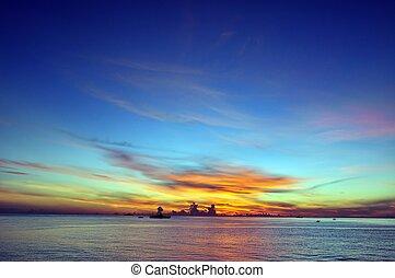 синий, небо, восход, океан