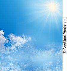 синий, небо, задний план, солнечный свет